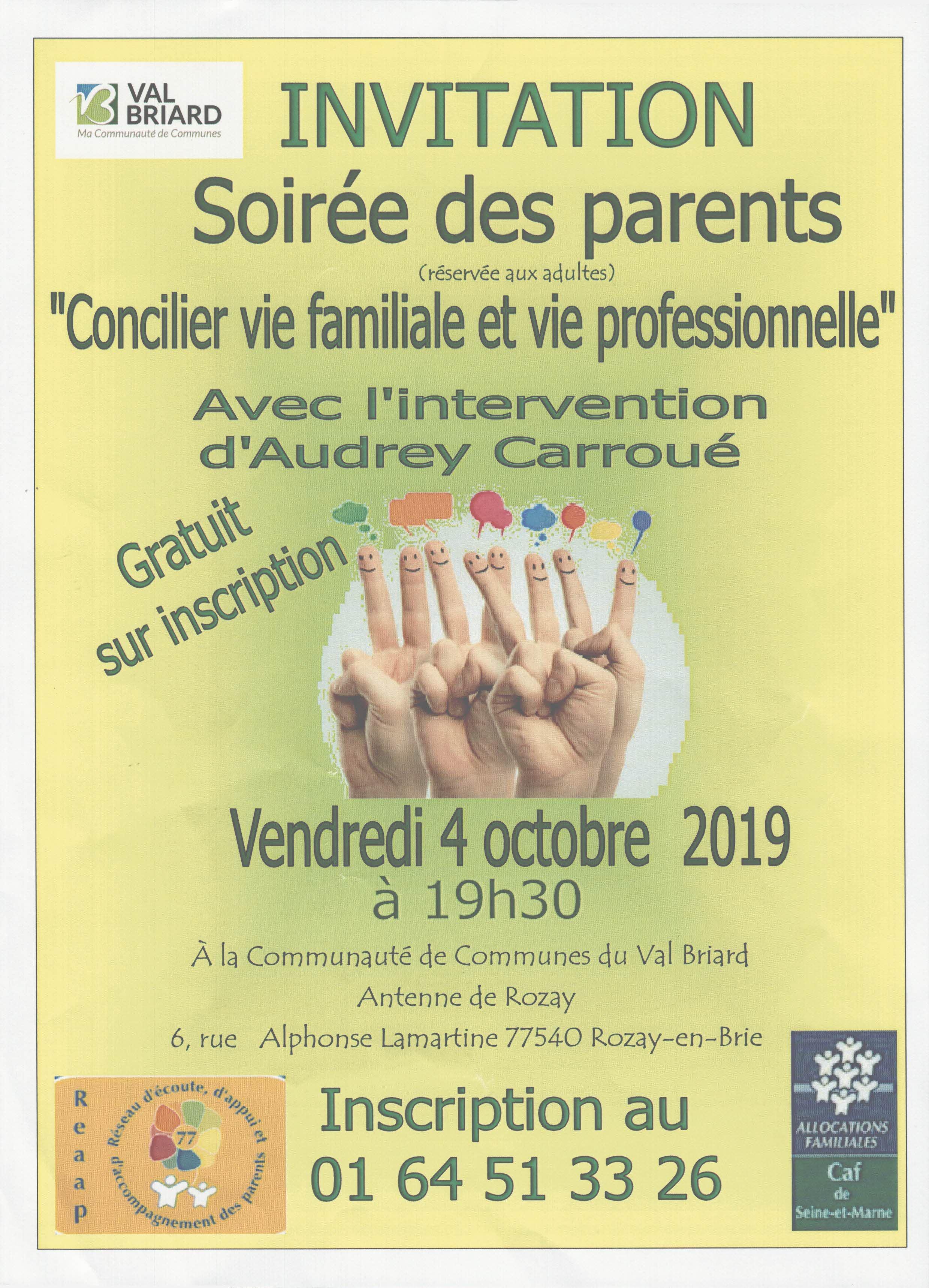 """SOIRÉE DES PARENTS – """"Concilier vie familiale et vie professionnelle"""""""